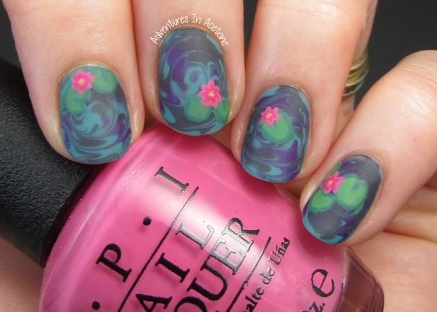 Water Lily Nail Art 1